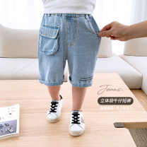 trousers McCarthy male 80cm,90cm,100cm,110cm,120cm,130cm blue summer shorts leisure time There are models in the real shooting Jeans Leather belt middle-waisted Denim Open crotch ck290 other 12 months, 9 months, 18 months, 2 years old, 3 years old, 4 years old, 5 years old, 6 years old, 7 years old