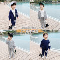 suit McCarthy Pullover Navy, pullover grey, cardigan Navy, cardigan grey 80cm,90cm,100cm,110cm,120cm,130cm male spring and autumn leisure time Long sleeve + pants 2 pieces routine There are models in the real shooting Socket nothing Solid color cotton children Expression of love st221 Huzhou City