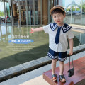 suit McCarthy white 80cm,90cm,100cm,110cm,120cm,130cm male summer Korean version Short sleeve + pants 2 pieces Thin money There are models in the real shooting Single breasted nothing Solid color cotton children Expression of love ct316 Chinese Mainland Zhejiang Province Huzhou City