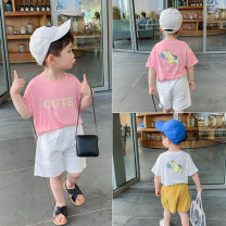 T-shirt White, pink McCarthy 80cm,90cm,100cm,110cm,120cm,130cm male summer Short sleeve Crew neck leisure time There are models in the real shooting nothing cotton Cartoon animation ct298 12 months, 9 months, 18 months, 2 years old, 3 years old, 4 years old, 5 years old, 6 years old, 7 years old
