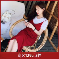 Dress Summer of 2019 claret Average size Mid length dress singleton  Sleeveless street V-neck middle-waisted Socket other 18-24 years old Type H Pink Doll backless XN1BDR014 31% (inclusive) - 50% (inclusive) other cotton Regenerated cellulose fiber 48.3% cotton 32.7% polyamide fiber 19%