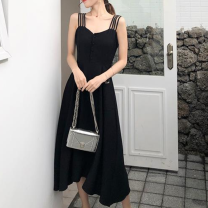 Dress Summer 2020 black M [80-100 Jin], l [100-120 Jin], XL [120-140 Jin], 2XL [140-160 Jin], 3XL [160-180 Jin], 4XL [180-200 Jin] longuette singleton  Sleeveless commute V-neck High waist Solid color Socket other other camisole 25-29 years old Type A Korean version More than 95% other