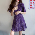 Women's large Summer 2020 Purple dress Dress singleton  commute Self cultivation moderate Socket Short sleeve Broken flowers Korean version V-neck polyester Three dimensional cutting routine Other / other 31% (inclusive) - 50% (inclusive) Short skirt