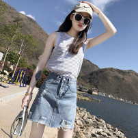 skirt Summer 2021 S,M,L,XL Denim blue (split lining) , Denim blue (with built-in lining) Short skirt Versatile High waist A-line skirt Solid color Type A 18-24 years old More than 95% Denim Other / other other Button
