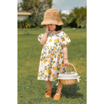 Dress female Yoehaul / youyou 80cm,90cm,100cm,110cm,120cm,130cm,140cm Other 100% summer leisure time Short sleeve Fruits Cotton blended fabric other 12 months, 18 months, 2 years old, 3 years old, 4 years old, 5 years old, 6 years old, 7 years old, 8 years old Chinese Mainland Zhejiang Province