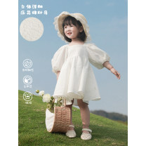 Dress White, white (pre-sale) female Yoehaul / youyou 80cm,90cm,100cm,110cm,120cm,130cm,140cm Other 100% No season leisure time Short sleeve Solid color Cotton blended fabric other 12 months, 18 months, 2 years old, 3 years old, 4 years old, 5 years old, 6 years old, 7 years old, 8 years old Hangzhou