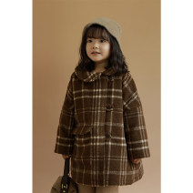 woolen coat Deep coffee apricot lattice, deep coffee apricot lattice (pre-sale) 80cm,90cm,100cm,110cm,120cm,130cm female Yoehaul / youyou blending There are models in the real shooting nothing lady thickening winter Single breasted Other 100% lattice Lapel crew neck D1546