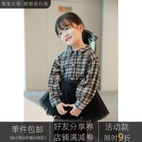 shirt Yoehaul / youyou female 80cm,90cm,100cm,110cm,120cm,130cm,140cm spring and autumn Long sleeves leisure time lattice Cotton blended fabric Lapel and pointed collar Other 100%