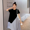 Dress Other / other Short sleeve Medium and long term summer Crew neck Solid color Chinese Mainland black S,M,L,XL