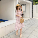 Women's large Summer 2021 Pink flowers Large L (recommended 90-100 kg), large XL (recommended 100-120 kg), large XXL (recommended 120-140 kg), large XXXL (recommended 140-160 kg), large XXXXL (recommended 160-180 kg) Dress singleton  moderate Conjoined three quarter sleeve V-neck other routine other
