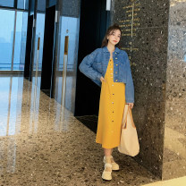 Women's large Spring 2021 suit Dress Two piece set commute moderate Socket Long sleeves Solid color Korean version Polo collar have cash less than that is registered in the accounts Polyester, cotton, others shirt sleeve Button 96% and above Medium length