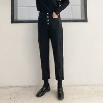 Women's large Autumn 2020 Black [collection and purchase priority] Big L, big XL, big XXL, big XXXL, big XXXXL, big XXXXL trousers singleton  commute easy thick Korean version Polyester, cotton, others Three dimensional cutting CF030 South Island wind 18-24 years old 51% (inclusive) - 70% (inclusive)