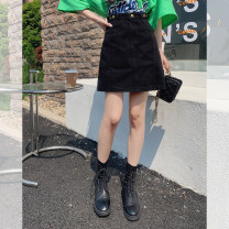 Women's large Summer 2021 Blue, black Large L (recommended 90-100 kg), large XL (recommended 100-120 kg), large XXL (recommended 120-140 kg), large XXXL (recommended 140-160 kg), large XXXXL (recommended 160-180 kg) skirt singleton  commute easy moderate Korean version Polyester, cotton D8019NN