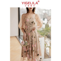 Dress Spring 2020 Decor S M L longuette singleton  Long sleeves commute square neck High waist Decor zipper Big swing bishop sleeve 18-24 years old Type A Yigelila lady More than 95% nylon Polyamide fiber (nylon) 100% Exclusive payment of tmall