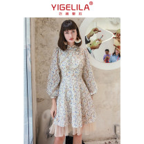 Dress Autumn 2020 Decor S M L Short skirt singleton  Long sleeves commute stand collar High waist Decor zipper A-line skirt bishop sleeve 18-24 years old Type A Yigelila Retro printing More than 95% polyester fiber Polyester 100% Exclusive payment of tmall