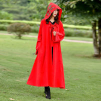 Windbreaker Spring 2021 L (recommended below 130 kg), XL (recommended 130-160 kg) Red, blue Long sleeves routine Medium length commute Frenulum Hood pagoda sleeve Solid color Skirt type ethnic style Other / other 25-29 years old Pocket, embroidery, cap 51% (inclusive) - 70% (inclusive) cotton cotton