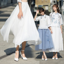 skirt Summer 2021 Average size white Mid length dress commute Natural waist A-line skirt Solid color 18-24 years old 30% and below Chiffon polyester fiber literature