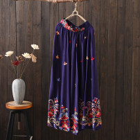 skirt Spring 2021 Average size Green, blue, black Mid length dress commute Natural waist A-line skirt Type A 30-34 years old 51% (inclusive) - 70% (inclusive) other cotton Embroidery ethnic style