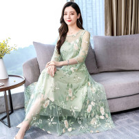 Dress Autumn of 2019 Apricot, green M,L,XL,2XL,3XL longuette singleton  Long sleeves commute V-neck middle-waisted Decor Socket other other Others 30-34 years old Type A Korean version Embroidery 81% (inclusive) - 90% (inclusive) other polyester fiber