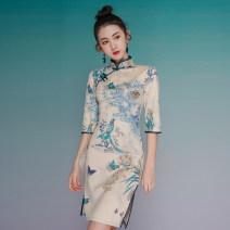 cheongsam Summer 2021 XXL,S,M,L,XL Picture color three quarter sleeve Short cheongsam ethnic style Low slit daily Oblique lapel Decor 51% (inclusive) - 70% (inclusive)