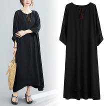 Dress Spring 2021 black Average size longuette singleton  commute V-neck High waist Solid color Socket 18-24 years old Type A Retro tassels 31% (inclusive) - 50% (inclusive) other