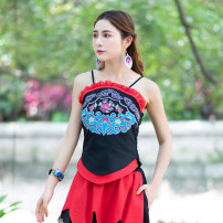 Vest sling Spring 2021 black S,M,L singleton  routine Straight cylinder commute camisole 71% (inclusive) - 80% (inclusive) Embroidery / embroidery