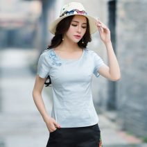 T-shirt Light blue, white M,L,XL,2XL,3XL Summer 2021 Short sleeve Crew neck Self cultivation Regular routine commute cotton 31% (inclusive) - 50% (inclusive) 25-29 years old Retro literature Solid color Embroidery