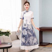 cheongsam Spring 2021 XXL, XXXL, m, l, XL, quality goods in stock grey Short sleeve long cheongsam Retro High slit daily Oblique lapel Decor 25-35 years old Piping