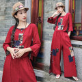 Dress Spring 2021 Red, Navy L,XL,2XL Two piece set Long sleeves commute Crew neck middle-waisted Socket routine Others 30-34 years old Type A ethnic style Patch, button 81% (inclusive) - 90% (inclusive) brocade hemp