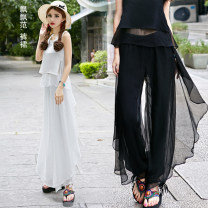 Casual pants White, black Spring 2021 trousers Wide leg pants Natural waist commute Thin money 18-24 years old 96% and above polyester fiber literature Lotus leaf edge