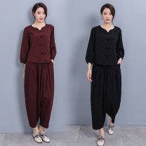 Middle aged and old women's wear Spring 2021 Brown, black L,XL ethnic style suit easy Two piece set Retro Design 40-49 years old Socket moderate V-neck have cash less than that is registered in the accounts routine Button flax 51% (inclusive) - 70% (inclusive) Ninth pants