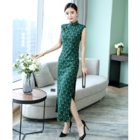 cheongsam Summer 2021 S. M, l, XL, 2XL Fresh green [don't forget me], orange [don't forget me] Sleeveless long cheongsam Retro Low slit daily Oblique lapel Decor 25-35 years old Piping hemp 51% (inclusive) - 70% (inclusive)