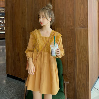 Dress Other / other M. L, XL, XXL, XXXL, increase XXXL Korean version Long sleeves Medium length spring One word collar Solid color Pure cotton (95% and above)