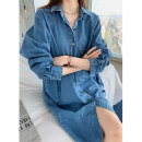 Dress Spring 2021 Medium blue Average size Mid length dress singleton  Long sleeves commute Polo collar Loose waist Solid color Single breasted other raglan sleeve 18-24 years old Type H Korean version Pockets, buttons, stitching 30% and below other other