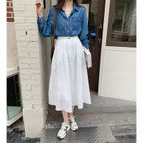 skirt Spring 2021 Average size White, black Mid length dress commute High waist A-line skirt Solid color Type A 18-24 years old 30% and below other other Korean version