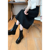 skirt Spring 2021 S,M,L,XL Black, brown Mid length dress commute High waist A-line skirt Solid color Type A 18-24 years old 30% and below other thatxiaov other zipper Korean version