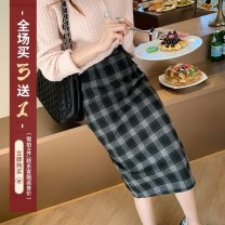 skirt Spring 2021 S,M,L,XL Black, Khaki Mid length dress commute High waist A-line skirt lattice Type A 18-24 years old 30% and below other thatxiaov other Korean version