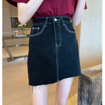 skirt Spring 2021 S,M,L,XL Black grey Short skirt commute High waist A-line skirt Solid color Type A 18-24 years old 30% and below other thatxiaov other zipper Korean version