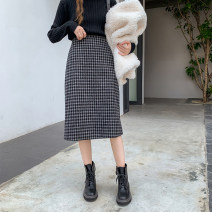 skirt Spring 2021 S,M,L,XL Mid length dress Versatile High waist A-line skirt lattice Type A 18-24 years old 30% and below other thatxiaov other