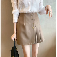 skirt Spring 2021 S,M,L,XL Black, Khaki Short skirt commute High waist A-line skirt Solid color Type A 18-24 years old 30% and below other thatxiaov other Button, zipper Korean version