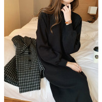 Dress Spring 2021 black Average size longuette singleton  Long sleeves commute Half high collar Loose waist Solid color Socket One pace skirt routine Others 18-24 years old thatxiaov Korean version 30% and below other other