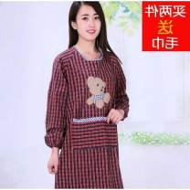 apron 6634a red lattice random, 6634a black red, dolphin extended, little yellow dog extended, upgraded 3 in 1 black, upgraded 3 in 1 coffee, upgraded 3 in 1 pink, upgraded 3 in 1 dark green Sleeve apron antifouling other pure cotton Household cleaning Average size 6634a public
