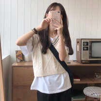 sweater Autumn 2020 Average size Apricot, khaki grey Sleeveless Socket have cash less than that is registered in the accounts other 30% and below Crew neck Thin money Coarse wool Keep warm and warm