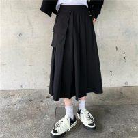 skirt Winter 2020 S,M,L Gray, black Mid length dress Versatile High waist Suit skirt Solid color Type A 30% and below polyester fiber