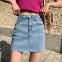 skirt Summer 2021 S,M,L,XL White, blue, black, black grey Short skirt commute High waist A-line skirt Type A 71% (inclusive) - 80% (inclusive) Button Korean version