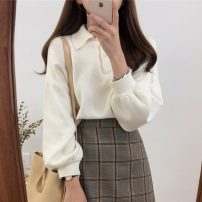 sweater Autumn 2020 Average size Long sleeves Socket Viscose 95% and above Polo collar commute Solid color Keep warm and warm Other / other