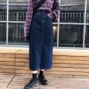 skirt Spring 2021 S,M,L,XL Dark blue, black Mid length dress Versatile High waist Denim skirt Type H 71% (inclusive) - 80% (inclusive) Denim