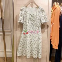 Dress Summer 2021 Green, pink 155/80A,160/84A,165/88A,170/92A Middle-skirt singleton  elbow sleeve Sweet V-neck middle-waisted Decor Socket A-line skirt puff sleeve Others Type A E·LAND EEOWB24W3C More than 95% cotton