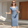 Dress Summer 2021 Dark grey, blue, red, black S,M,L,XL,2XL Mid length dress singleton  Short sleeve commute Crew neck High waist Solid color Socket One pace skirt routine Others 25-29 years old T-type Korean version Splicing More than 95% other cotton