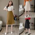 skirt Autumn 2020 S,M,L,XL Black, apricot, khaki longuette Versatile High waist A-line skirt Solid color Type A 18-24 years old 91% (inclusive) - 95% (inclusive) other polyester fiber Button